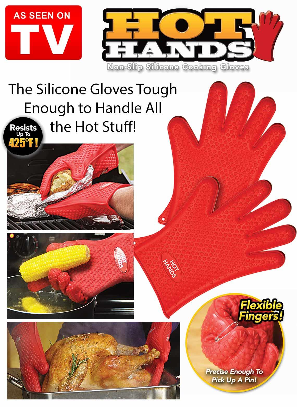 Hot Hands Non Slip Silcone Cooking Grill BBQ Cooking Gloves